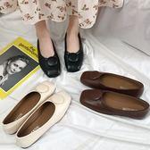 平底包鞋.簡約圓片釦設計方頭娃娃鞋.白鳥麗子