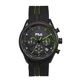 【FILA 斐樂】三眼編織紋錶面設計腕錶-低調綠/38-176-004/台灣總代理公司貨享兩年保固