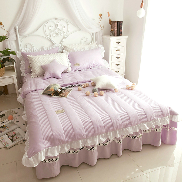 純棉鋪棉床罩組 安妮兒 淺紫色 高品質 5尺 標準雙人 兩用被 薄床罩 冬夏兩用被 鋪棉被套 佛你
