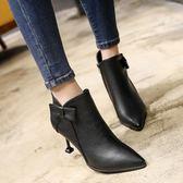 現貨秋冬新款高跟細跟尖頭韓版蝴蝶結女鞋短靴新馬丁靴裸靴女靴子 35/黑色 僅此一件1-3