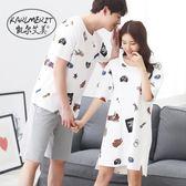 情侶睡衣  棉質短袖情侶睡衣正韓夏季兩件套男家居服套裝薄款可愛女睡裙 聖誕免運