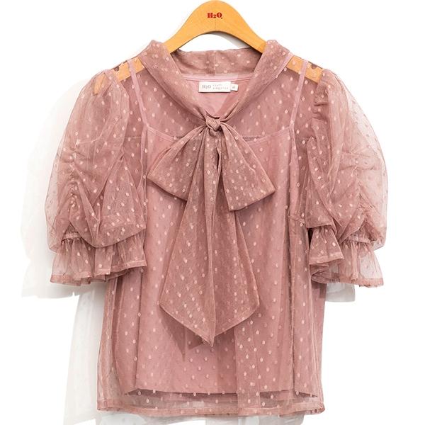 早春[H2O]點點網紗抽細褶大泡袖綁帶上衣 - 黑/白/粉色 #1675008