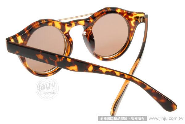 EJING 太陽眼鏡 EJP2217 C2 (琥珀色) 歐美掀蓋式圓框墨鏡 # 金橘眼鏡