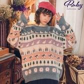 上衣 繽紛寬版針織長袖上衣-Ruby s 露比午茶