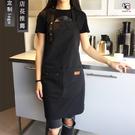 帆布圍裙 訂製印字奶茶咖啡店烘焙餐廳美甲韓版男女工作服訂製LOGO店名 降價兩天
