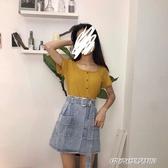 牛仔短裙子潮年新款女裝韓版流行氣質a字半身裙 【傑克型男館】