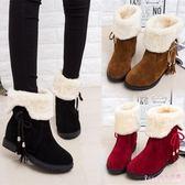 中大尺碼平底短靴 秋冬雪地靴女短靴女鞋防滑平底加絨加厚短筒靴保暖LB6009【Rose中大尺碼】