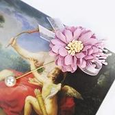 【粉紅堂 飾品】珍珠緞帶花朵別針 / 胸花*藕粉色 / 水藍色 / 淡紫色 / 粉橘色 *