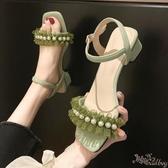 仙女風珍珠粗跟涼鞋 女2020新款溫柔風露趾一字帶花邊沙灘羅馬涼鞋 BT23249『bad boy時尚』