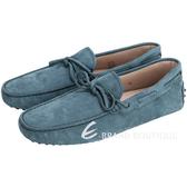 TOD'S GOMMINO 藍綠色磨砂牛皮綁帶豆豆休閒樂褔鞋(男) 1510375-16