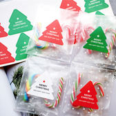 【BlueCat】紅綠白三色聖誕樹與新年快樂造型包裝貼紙 (10枚入)