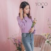 東京著衣【YOCO】多糖女孩打結澎袖後背勾針蕾絲針織上衣(182066)
