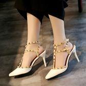 全館83折名媛風2019夏季新款性感時尚鉚釘尖頭婚鞋細跟高跟鞋一字扣涼鞋女