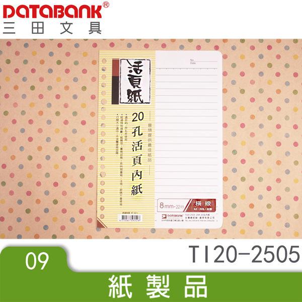 A5 25K 20孔橫線活頁紙 (TI20-2505) 手札 小手冊 小記事本 memo紙 文件紀錄紙 三田文具 DATABANK