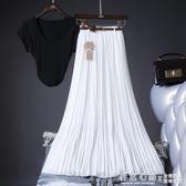 2020夏季新款百搭高腰雪紡百褶半身裙中長裙飄逸大擺沙灘度假長裙 怦然心動