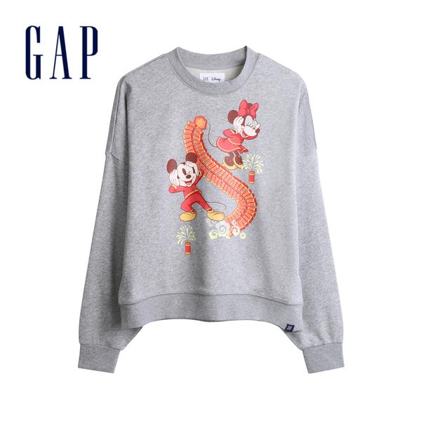 Gap女裝 Gap x Disney 迪士尼系列米奇米妮棉質縮口休閒上衣 555432-淺石楠灰