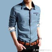 秋季新款男士牛仔襯衫男長袖保暖加絨襯衣修身型韓版潮流休閒寸衫 時尚潮流