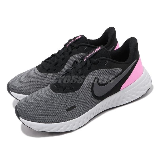 Nike 慢跑鞋 Wmns Revolution 5 黑 灰 粉紅 女鞋 運動鞋 【ACS】 BQ3207-004