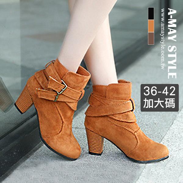 現貨加大碼短靴-率性雙環帶磨砂粗跟短靴(36-42碼)