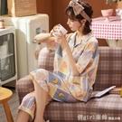 家居服 純棉睡衣女夏季薄款短袖七分褲兩件套裝2021年新款可愛大碼家居服 開春特惠
