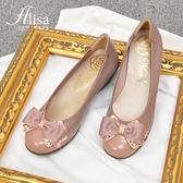 專櫃女鞋 水鑽蝶結楔型包鞋-艾莉莎Alisa【184562】粉色下單區