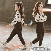 女童套裝 2021年新款秋裝時髦秋季中大童韓版童裝女洋氣兩件套