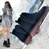 短靴女春秋單靴女靴子粗跟女鞋機車馬丁靴女英倫風
