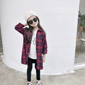 長版黑紅格子襯衫 長袖襯衫 中性款 開衫外套 女童 橘魔法 襯衫 薄長袖