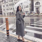 韓版中長款外套大衣棉衣XL-4XL大码女装加肥加大宽松显瘦时尚千鸟格长款呢子大衣夹棉4F121A-9921