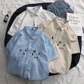 襯衫短袖 夏港風條紋復古ins寸衫日系文藝寬鬆休閒潮流學生襯衣