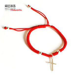 原創手工 十字架 銀本命年紅繩手鏈