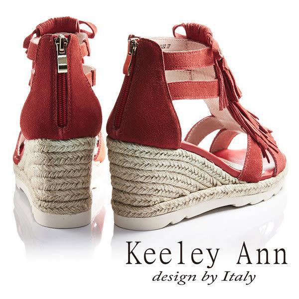 ★零碼出清★Keeley Ann甜美律動流蘇蝴蝶結麻繩真皮楔形涼鞋(紅色)