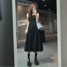 快速出貨 長裙夏季韓版女裝長裙收腰顯瘦氣質裙子黑色無袖吊帶洋裝潮