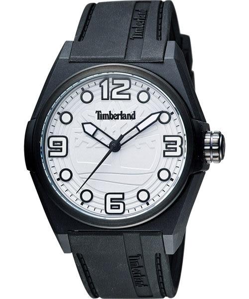 Timberland Radler 中性時尚腕錶-白x黑色錶帶 TBL.13328JPB/01A