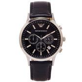 EMPORIO ARMANI 品味設計款三眼計時男性手錶(AR2447)-黑面x黑/43mm