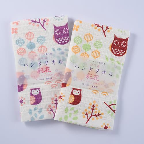 (小)日本製杉乃實銀抗菌彩花棉紗毛巾/面巾-梟の森/藍--妙屋房