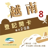 《Viettel越南軍隊》每日2GB 8天高速流量越南原廠卡/3-30天任選/越南網卡