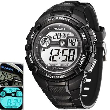 JAGA M932-A 豪邁粗礦多功能電子錶/運動錶-黑 (捷卡公司貨/保證防水)