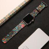 蘋果apple watch3手表表帶皮質iwatch2/1中國風民族圖騰腕帶男42