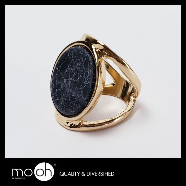 戒指 潮流 歐美大尺寸個性黑松石指戒 mo.oh (原創飾品)