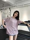 大碼運動上衣女寬鬆胖mm罩衫速干T恤瑜伽服短袖夏薄款跑步健身服
