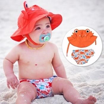 ZOOCCHiNi可愛動物尿布泳褲+遮陽帽/防曬帽-螃蟹-適合1-2歲幼兒 (10-13kg)