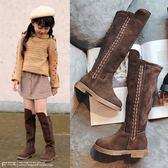 女童長靴兒童過膝靴加絨保暖高筒靴中大童【南風小舖】