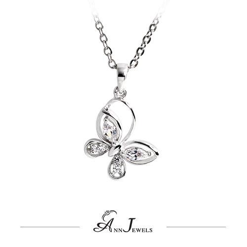 【AnnJewels‧925純銀‧閃亮蝴蝶.鋯石/鑽石項鍊】可客製化鑽石珠寶銀飾禮品