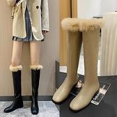 騎士靴子2021新款女靴冬季百搭加絨保暖毛毛長筒靴女不過膝瘦瘦靴 百分百
