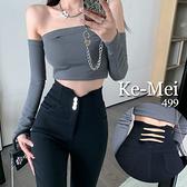 克妹Ke-Mei【ZT70312】BLACK暗黑龐克美臀交叉摟空高腰彈力緊身牛仔長褲