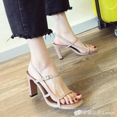 涼鞋女新款夏季仙女風時尚粗跟網紅一字帶性感露趾羅馬高跟鞋 檸檬衣舍