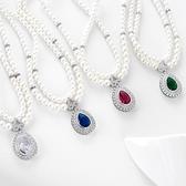 項鍊 純銀鍍白金 鑲鑽墜飾-古典珍珠生日情人節禮物女飾品4色73ct88【時尚巴黎】