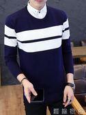 秋冬帶領毛衣男士韓版潮流個性加絨假兩件套男襯衫領針織衫打底衫  潮流衣舍