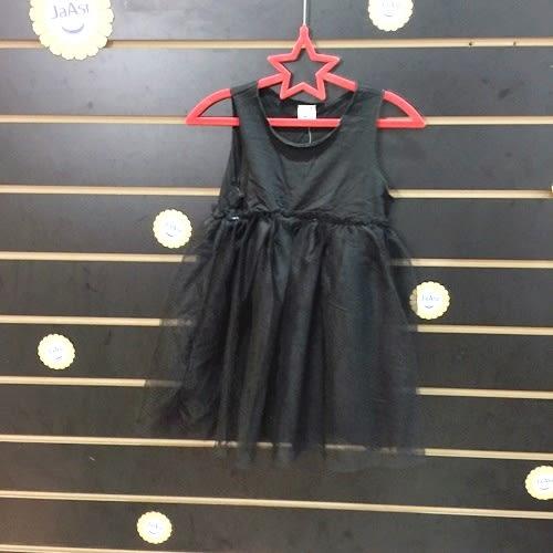 ☆棒棒糖童裝☆(617621)夏女童黑色素面背心紗裙洋裝 5-15